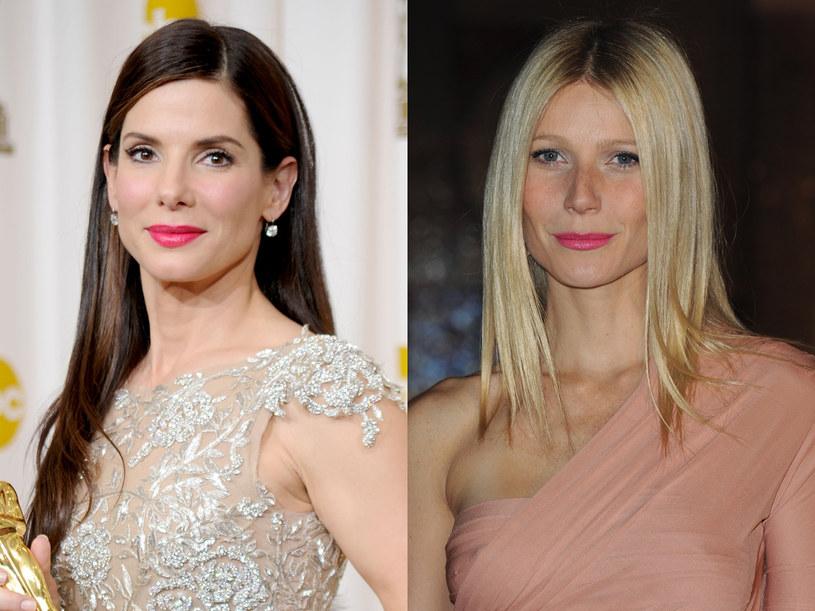 Aktorki Sandra Bullock i Gwyneth Paltrow prostownicą  prostują włosy  /Getty Images/Flash Press Media