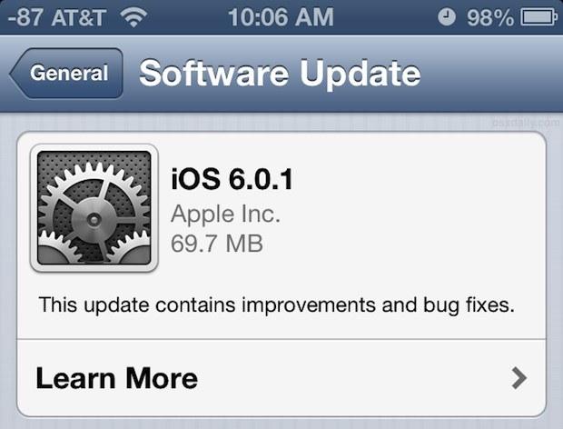 Aktualizacja iOS do wersji 6.0.1 jest dostępna /materiały prasowe