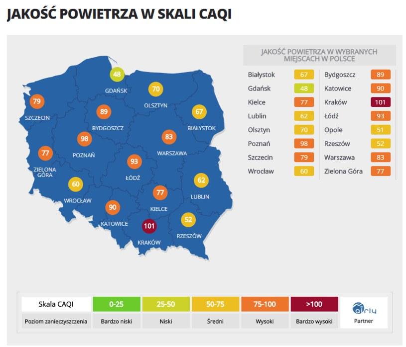 Aktualna mapa jakości powietrza w Polsce /INTERIA.PL