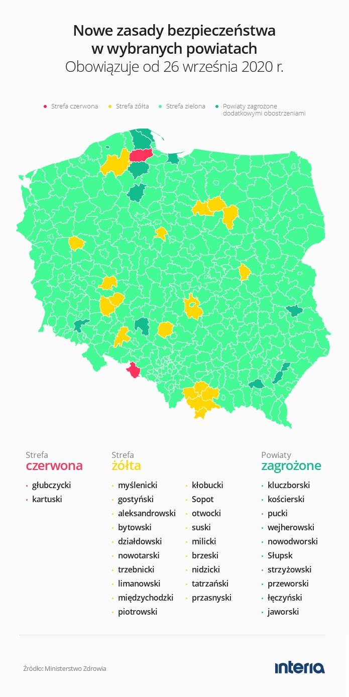 Aktualna mapa obszarów z obostrzeniami /INTERIA.PL