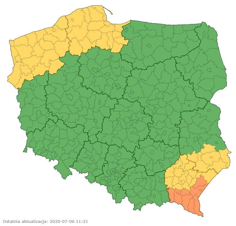 Aktualne ostrzeżenia meteorologiczne /IMGW-PIB / pogodynka.pl /
