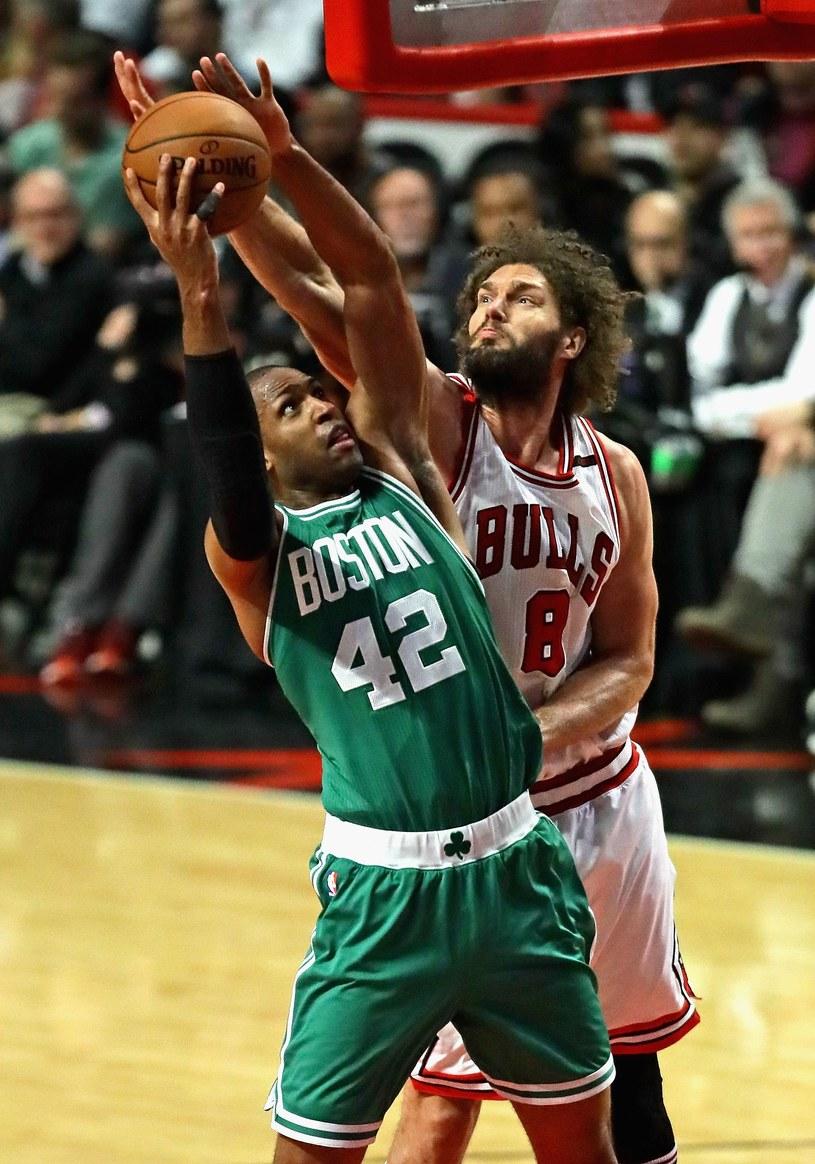Al Horford #42 z Boston Celtics kontra Robin Lopez #8 z Chicago Bulls. /AFP