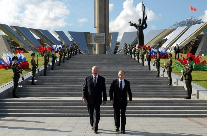 Alaksandr Łukaszenka na spotkaniu z prezydentem Rosji Władimirem Putinem /ALEXEY DRUZHINYN /PAP/EPA