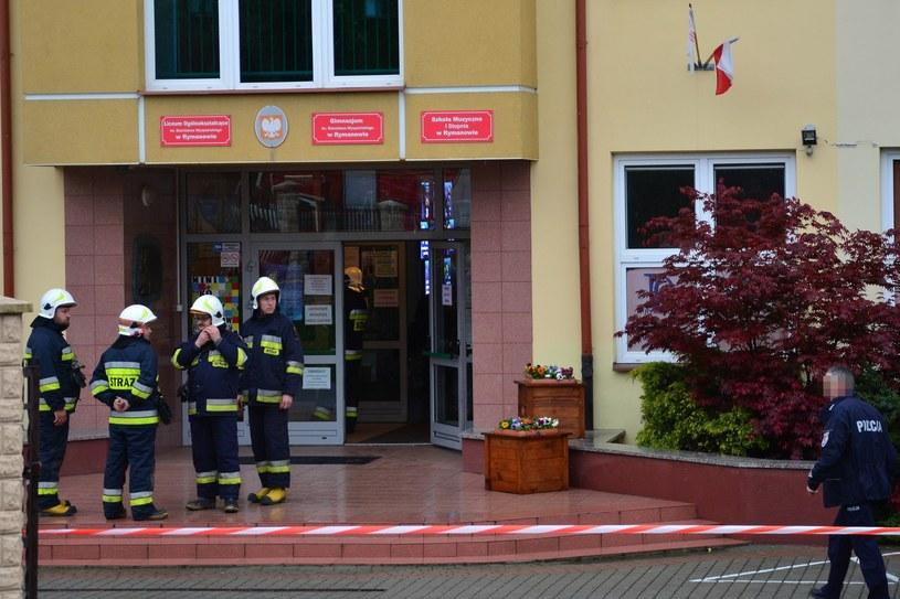 Alarm bombowy w liceum w Rymanowie /Wojciech Zatwarnicki /Reporter