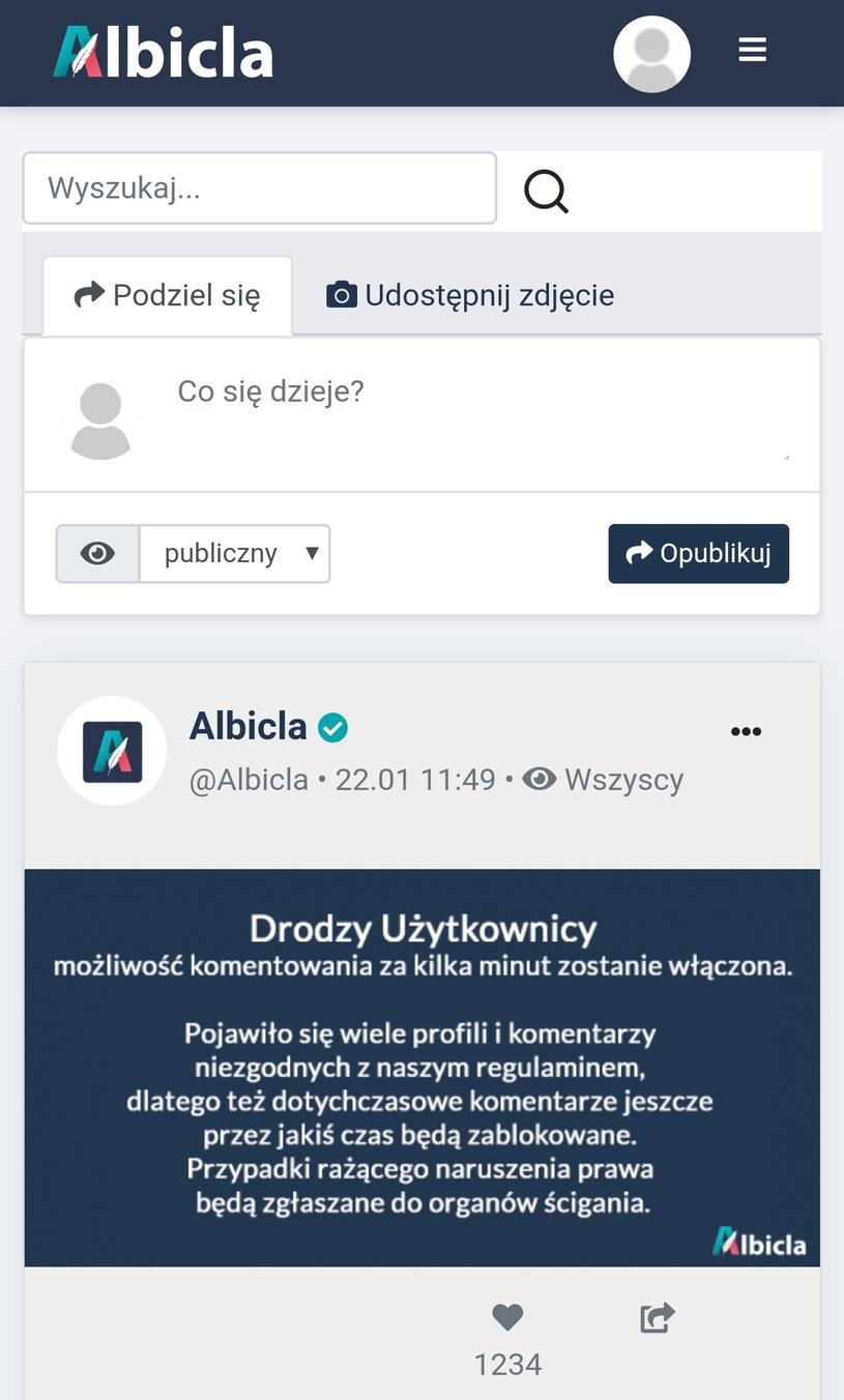 Albicla - widok strony tytułowej po zalogowaniu, wersja z mobilnej przeglądarki. Fot. Zrzut ekranu /INTERIA.PL