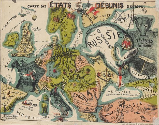 Alegoryczna mapa Europy z XIX w. /Wikipedia/domena publiczna /