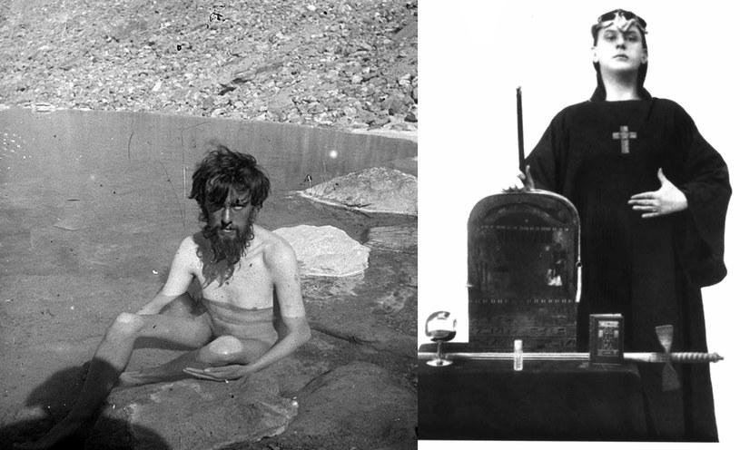 Aleister Crowley podczas wyprawy na K2 (z lewej) i jako samozwańczy mag /Wikimedia Commons /domena publiczna