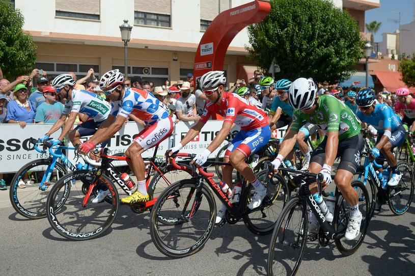 Alejandro Valverde, Luis Angel Mate Mardones, Rudy Molard i Michal Kwiatkowski (na zielono) na 7. etapie Vuelty. /AFP