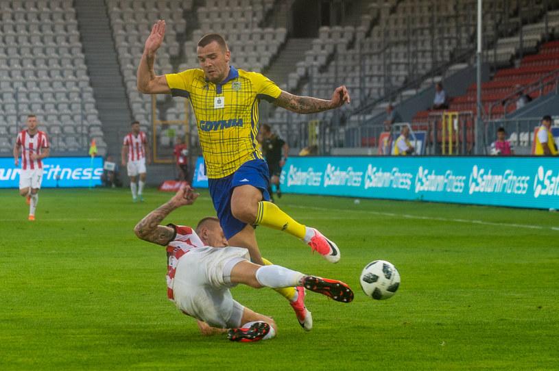 Aleksandar Kolew (u góry) zmaga się ze strzelecką impotencją /Łukasz Krajewski /Newspix