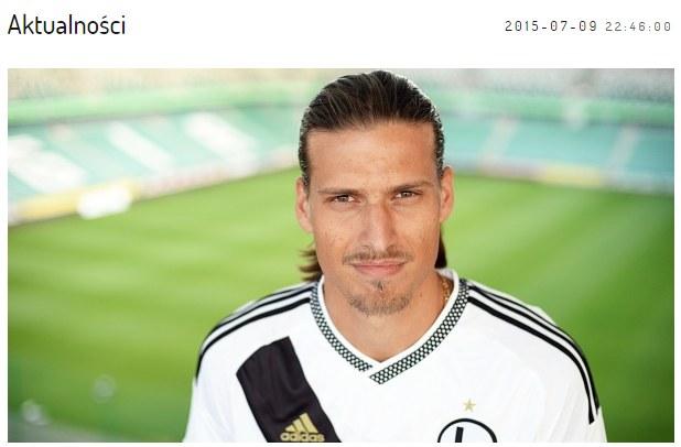 Aleksandar Prijović. Screen z oficjalnej strony Legii Warszawa /Legia.com
