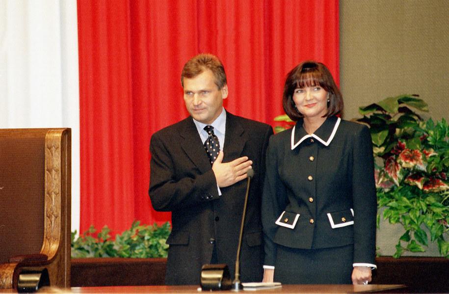 Aleksander Kwaśniewski z małżonką Jolantą Kwaśniewską /Damazy Kwiatkowski (PAP) /PAP