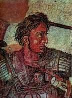 Aleksander Wielki w bitwie z Dariuszem pod Issos, fragment mozaiki, Pompeje, III-II w. p.n.e. /Encyklopedia Internautica
