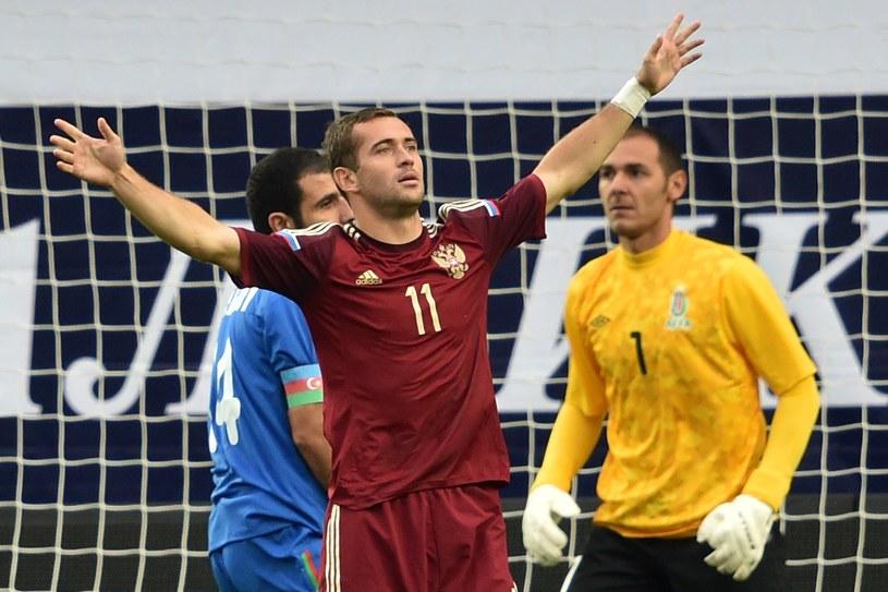 Aleksandr Kierżakow cieszy się z gola /AFP