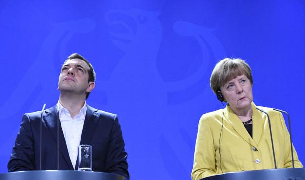 Aleksis Cipras i Angela Merkel fot. Tobias Schwarz /AFP