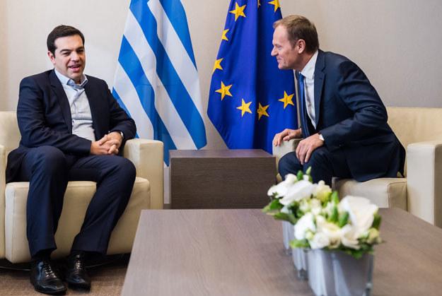 Aleksis Cipras i Donald Tusk fot. Geert Vanden Wijngaert / Pool /AFP