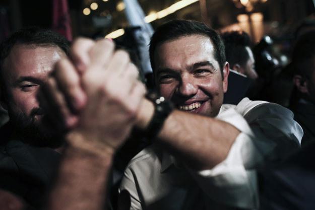 Aleksis Cipras świętuje wyborczy sukces /Angelos Tzortzinis /AFP