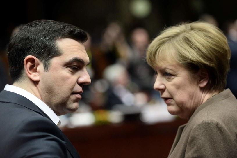 Aleksis Cipras w rozmowie z Angelą Merkel /AFP