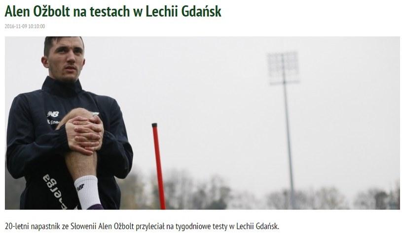 Alen Ożbolt (screen z oficjalnej strony Lechii) /