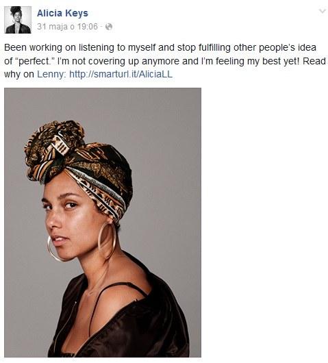 Alicia Keys bez makijażu /Alicia Keys Facebook/Printscreen /INTERIA.PL