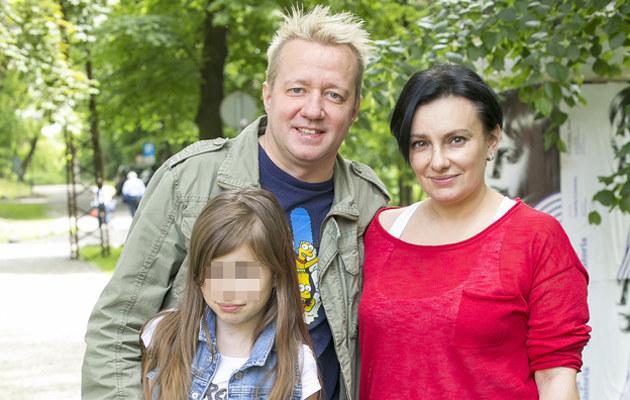 Alicja Borkowska z Robertem Leszczyńskim i córką /Baranowski /AKPA