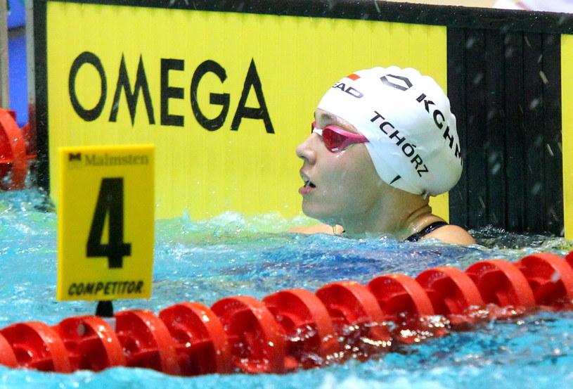Alicja Tchórz, w sztafecie 4x50 m stylem zmiennym kobiet, ustanowiła rekord Polski seniorek /Fot. Tomasz Waszczuk /PAP