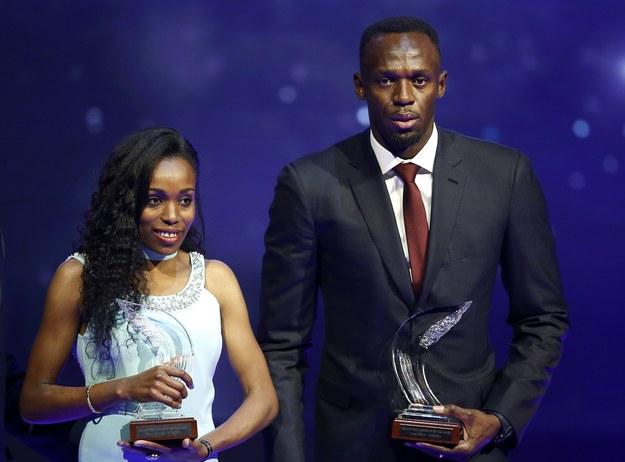 Almaz Ayana i Usain Bolt /PAP/EPA/SEBASTIEN NOGIER /PAP/EPA