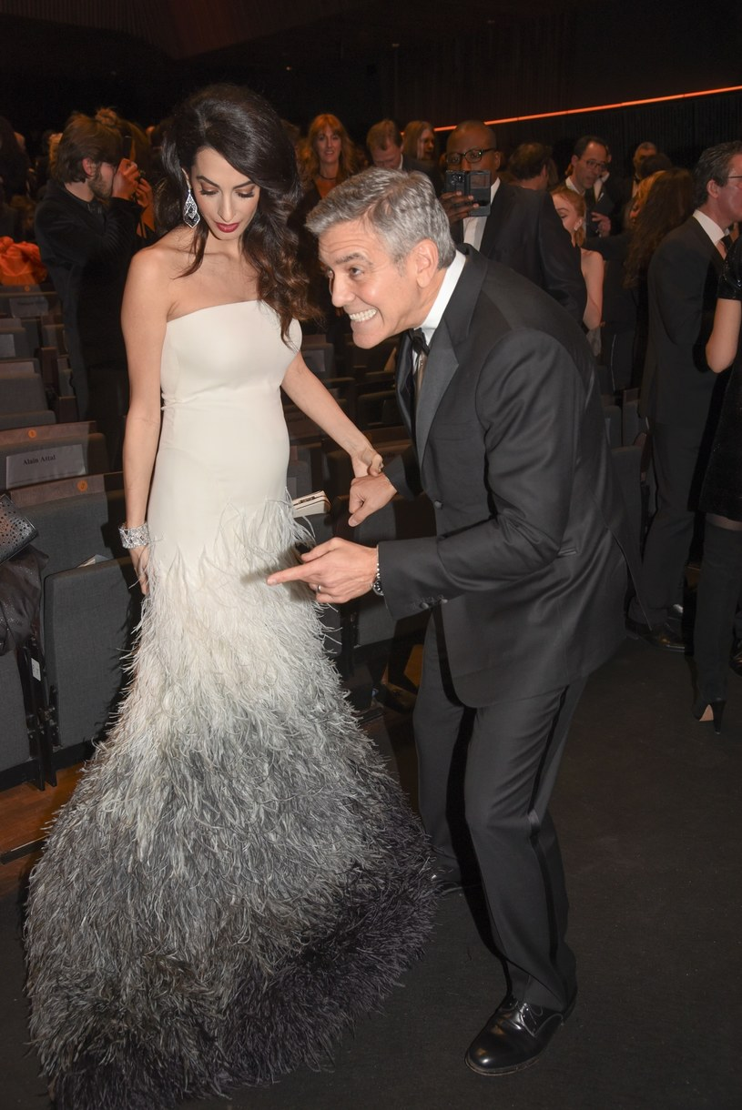Amal i George Clooney na rozdaniu Cezarów /STARFACE PHOTO /East News