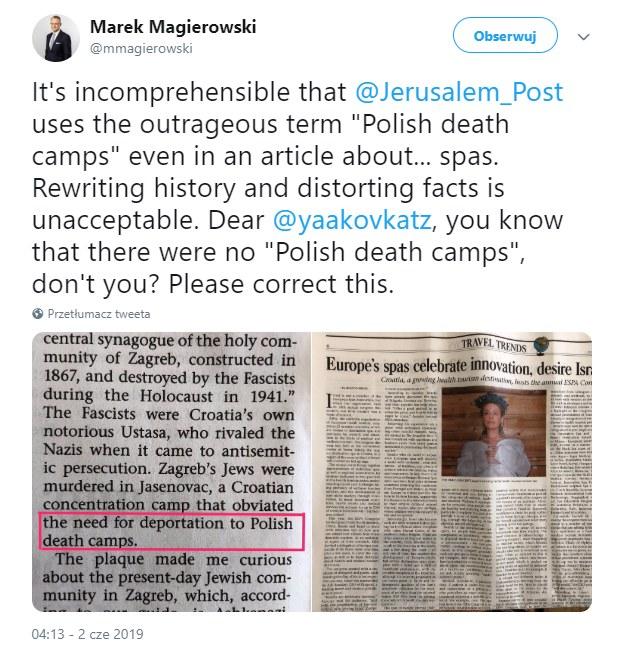 Ambasador Marek Magierowski zamieścił na Twitterze skopiowany z drukowanej wersji dziennika fragment /Twitter