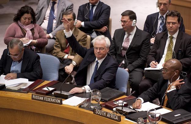 Ambasador Rosji przy ONZ Witalij Czurkin glosuje przeciw rezolucji /AFP
