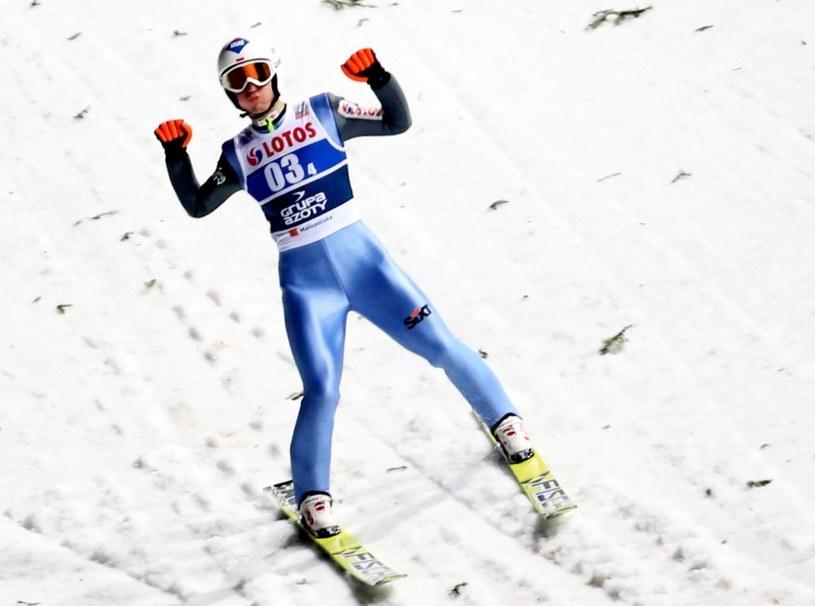 amil Stoch podczas konkursu drużynowego Pucharu Świata w skokach narciarskich na Wielkiej Krokwi w Zakopanem /Grzegorz Momot /PAP