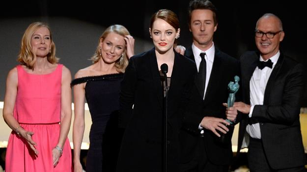 Amy Ryan, Naomi Watts, Emma Stone, Edward Norton i Michael Keaton z nagrodą SAG / fot. K. Djansezian /Getty Images