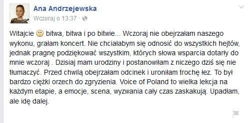 Ana Andrzejewska po bitwie na swoim Facebooku /oficjalna strona wykonawcy