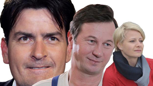 """Charlie Sheen, Rysiek z """"Klanu"""" oraz Hanka Mostowiak /Agencja W.Impact /AFP"""