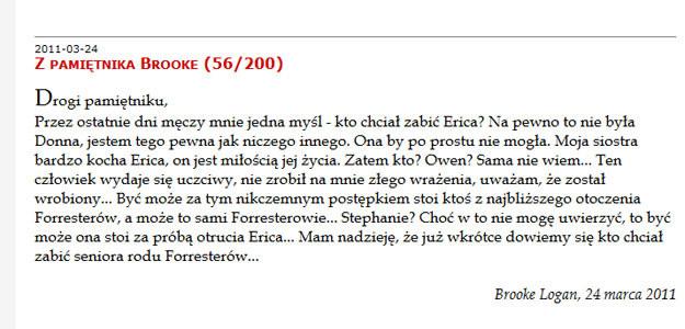 """Najświeższy """"wpis"""" Brooke z """"Mody na sukces"""" do jej pamiętnika /http://moda-na-sukces.blog.pl"""