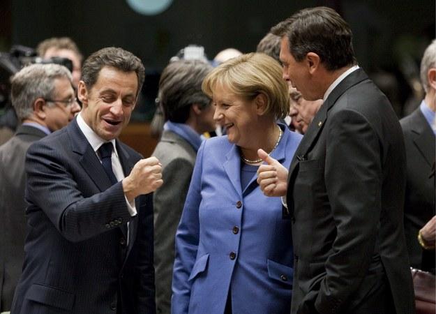 Od lewej: Francuski prezydent Nicolas Sarkozy, kanclerz Niemiec Angela Merkel i premier Słowenii Borut Pahor /PAP/EPA