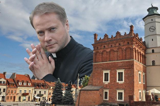 Ojciec Mateusz w centrum Sandomierza /Agencja W. Impact
