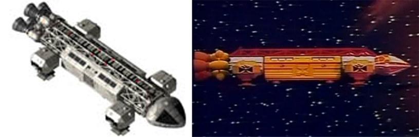 """Po lewej transporter Orzeł z """"Cosmosu 1999"""", po prawej statek Pi i Sigmy. Ciekawe, prawda? /space1999.org /YouTube"""