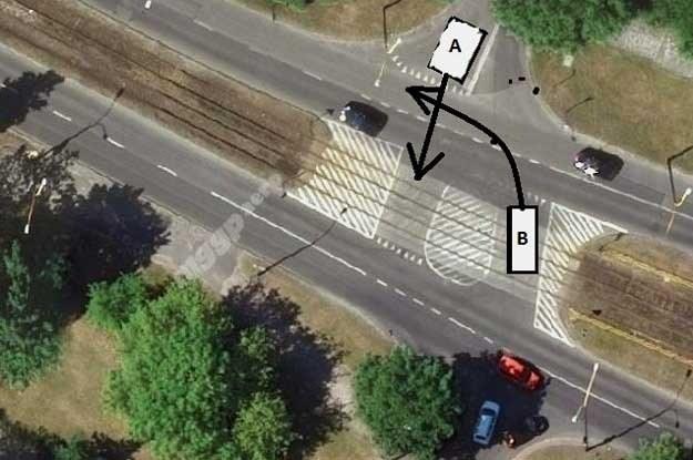 Symulacja przejazdu na skrzyżowanie ulic Piłsudskiego - Grabowa - Kierocińskiej