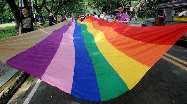 Tęczowa flaga - symbol środowisk LGBT /AFP