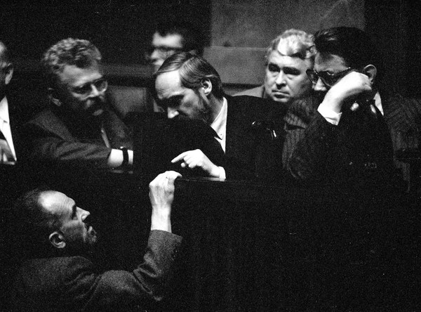 Kazimierz Switoń, Romuald Szeremietiew, Antoni Macierewicz i Jan Olszewski w Sejmie, 04.06.1992