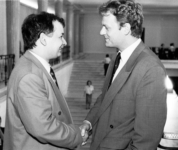 Jarosław Kaczyński i Donald Tusk w Sejmie, 04.06.1992
