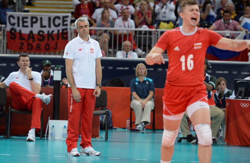 Andrea Anastasi i Krzysztof Ignaczak podczas meczu z Rosją /Bartłomiej Zborowski /PAP