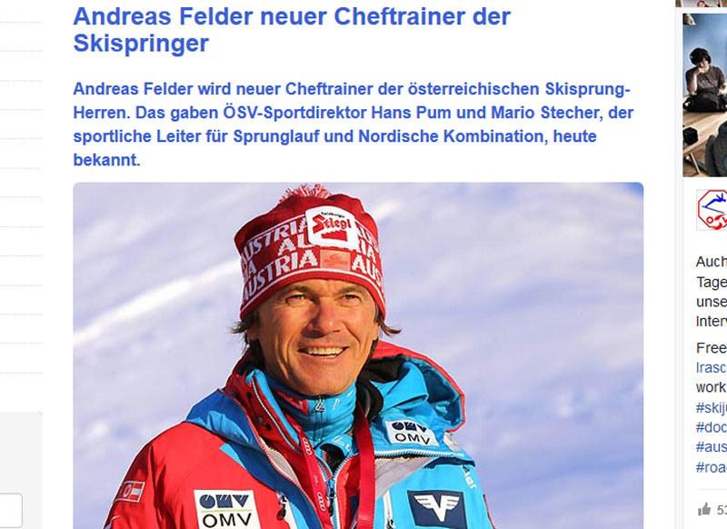 Andreas Felder nowym trenerem - oficjalny komunikat austriackiego związku narciarskiego /