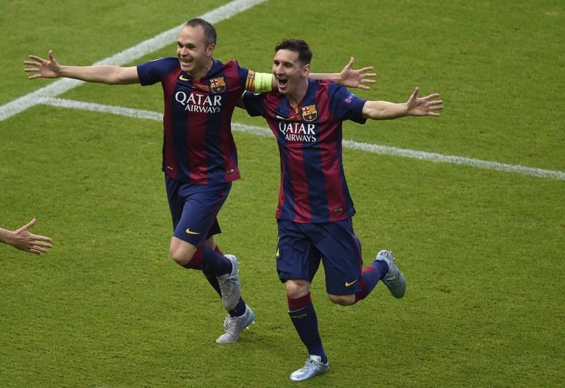 Andres Iniesta i Leo Messi w finale Ligi Mistrzów. /AFP