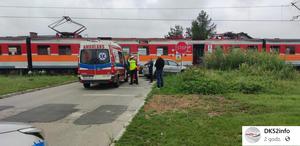 Andrychów: Zderzenie osobówki z pociągiem