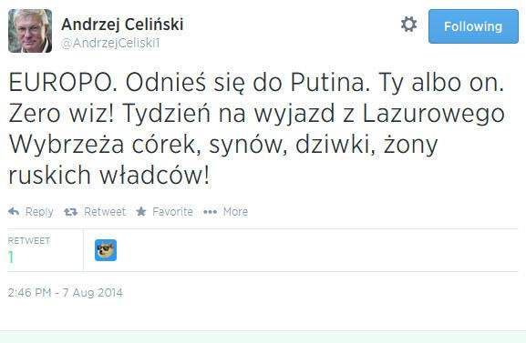Andrzej Cyliński postuluje wyrzucenie dziwek rosyjskich władców z Lazurowego Wybrzeża /@AndrzejCeliski1/Twitter /