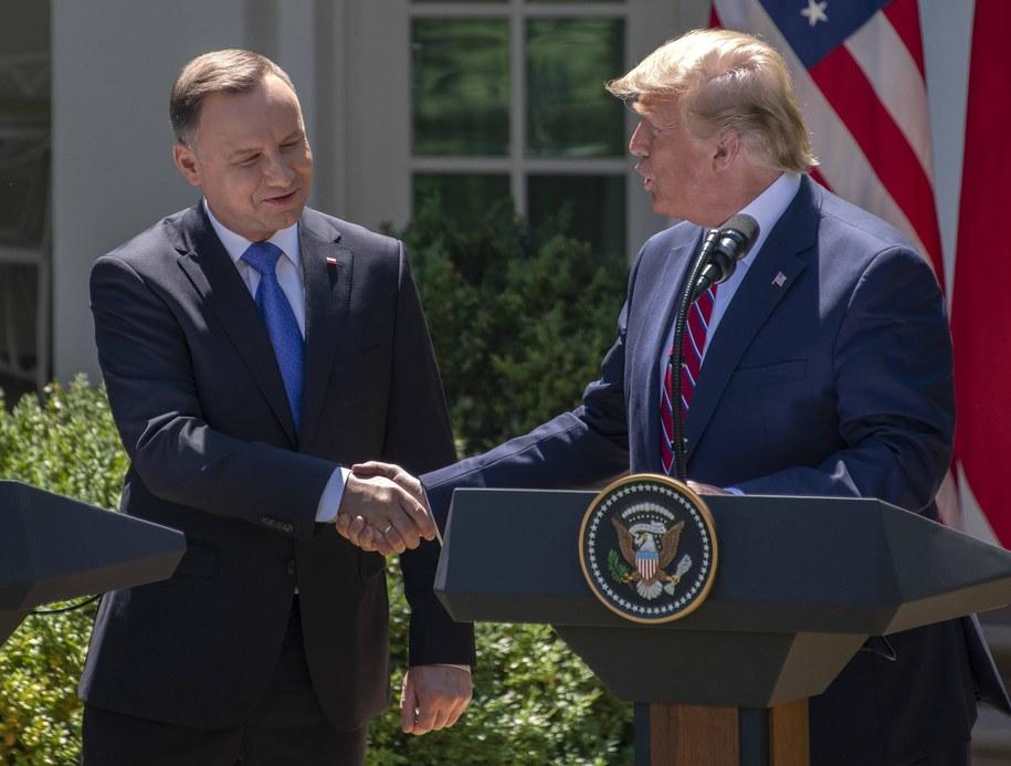 Andrzej Duda i Donald Trump podczas wizyty prezydenta Polski w Białym Domu /Ron Sachs    /PAP/EPA
