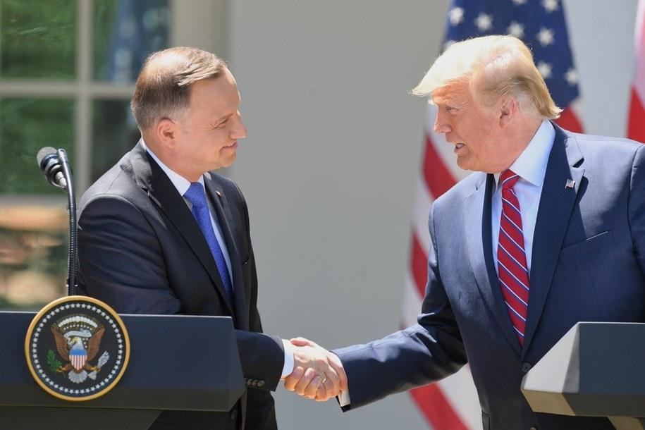 Andrzej Duda i Donald Trump w czerwcu ub. roku / Radek Pietruszka   /PAP