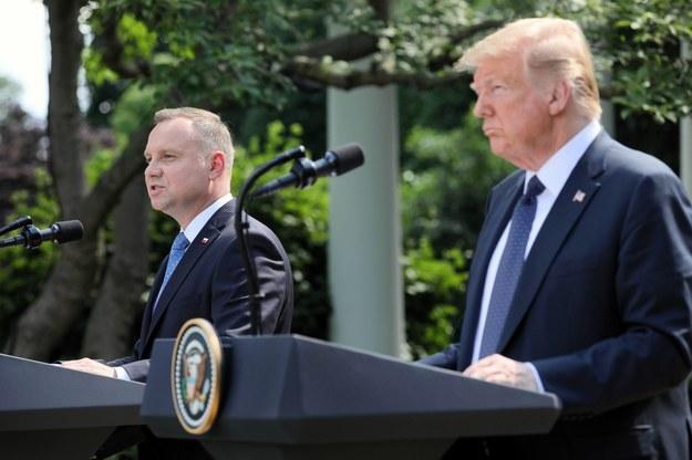 Andrzej Duda i Donald Trump w Ogrodzie Różanym Białego Domu / Leszek Szymański    /PAP