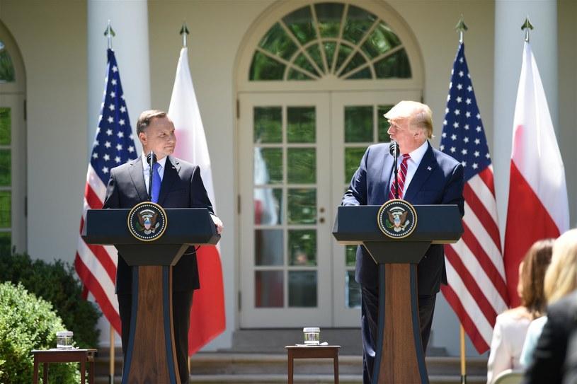 Andrzej Duda i Donald Trump w trakcie spotkania w Waszyngtonie /Chen Mengtong/China News Service/VCG  /Getty Images